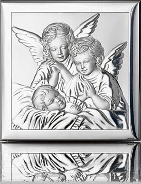 Aniołki nad dzieckiem: obrazek srebrny - Valenti & Co