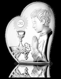 Prezent komunijny dla chłopca - Obrazek srebrny z grawerem