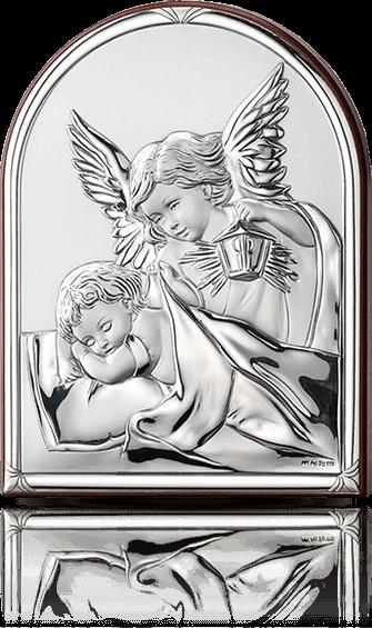 Aniołek nad dzieckiem: obrazek srebrny - Primo Piano Argenti