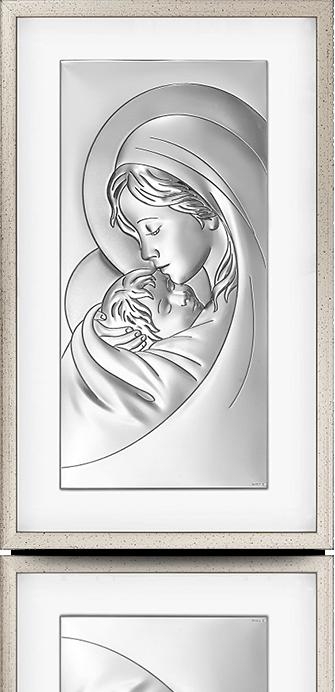 Matka Boska z dzieciątkiem: obraz srebrny w ramie za szkłem - Beltrami
