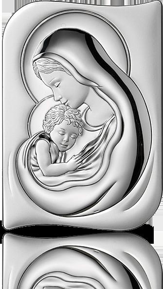 Matka Boska z dzieciątkiem: obrazek srebrny - Valenti & Co