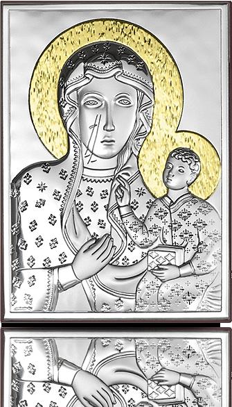 Matka Boska Częstochowska: srebrny obrazek ze złoceniami - Beltrami