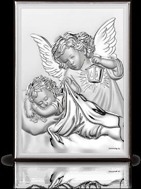 Aniołek z latarenką: obrazek srebrny - Belcom