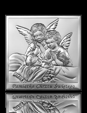 Aniołki nad dzieckiem: obrazek srebrny - Beltrami