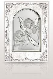 Aniołek z latarenką: obrazek święty na drewnie