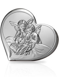 Aniołki nad dzieckiem - obrazek srebrny