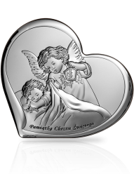 Aniołek nad dzieckiem - obrazek srebrny