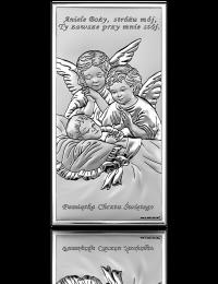 Aniołki nad dzieckiem: obrazek srebrny