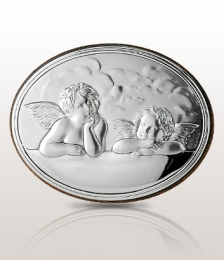 Aniołki: obrazek srebrny