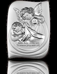 Aniołek z latarenką - obrazek srebrny