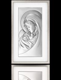 Matka Boża z dzieciątkiem: obraz srebrny w ramie za szkłem - Valenti & Co