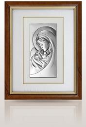 Matka Boska z dzieciątkiem: obraz srebrny w ramie za szkłem