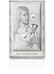 Jezus Chrystus nad Hostią - obrazek srebrny