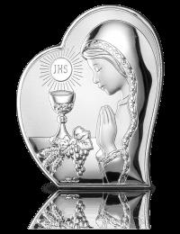 Prezent komunijny dla dziewczynki: Obrazek srebrny z grawerem
