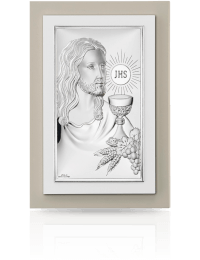 Jezus Chrystus nad Hostią: obrazek srebrny