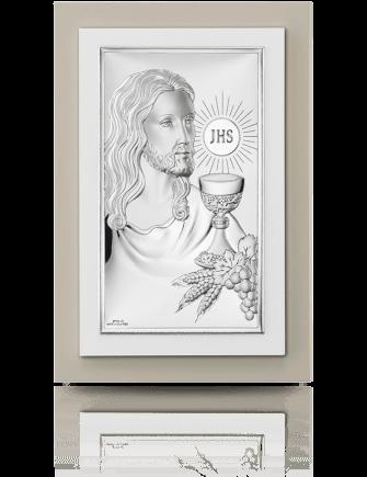 Jezus Chrystus nad Hostią: obrazek srebrny - Valenti & Co