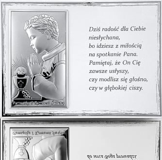 Pamiątka na Komunię dla chłopca: Panel z obrazkiem i modlitwą - Valenti & Co