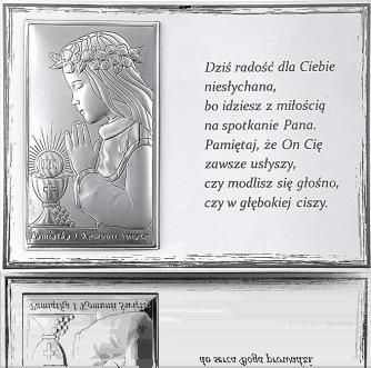 Pamiątka na Komunię dla dziewczynki: Panel z obrazkiem i modlitwą - Valenti & Co