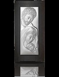 Święta Rodzina: obrazek srebrny na drewnie