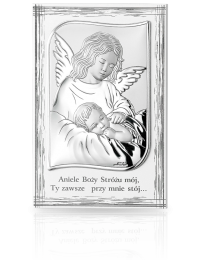 Aniołek nad dzieckiem: obrazek srebrny - Valenti & Co