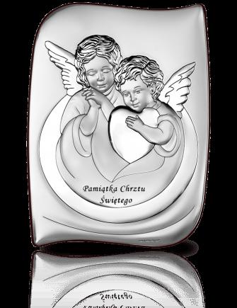Aniołki na Chrzest: obrazek srebrny - Beltrami