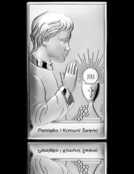 Pamiątka I Komunii dla Chłopca - obrazek srebrny