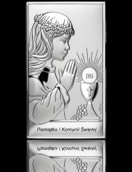 Pamiątka I Komunii dla dziewczynki - obrazek srebrny