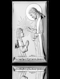 Pamiątka komunijna dla dziewczynki: obrazek srebrny