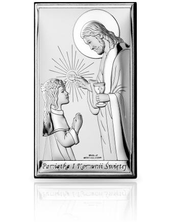 Pamiątka komunijna dla dziewczynki: obrazek srebrny - Valenti & Co
