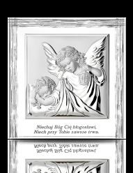 Aniołek z latarenką - obrazek na białym drewnie