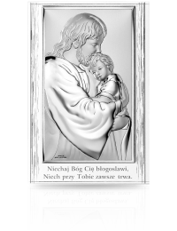 Jezus tulący dziecko: obrazek na białym drewnie
