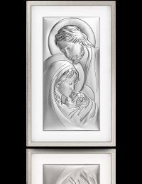 Święta Rodzina: obraz srebrny w ramie za szkłem