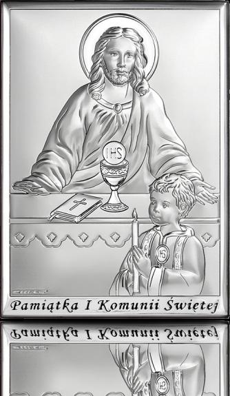 Pamiątka komunijna dla chłopca: obrazek srebrny - Beltrami