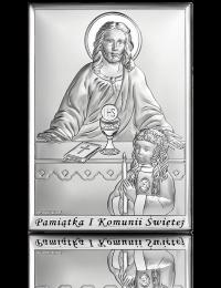 Pamiątka komunijna dla dziewczynki: obrazek srebrny - Beltrami