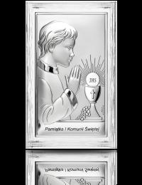 Pamiątka I Komunii dla chłopca: obrazek srebrny