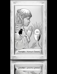 Pamiątka I Komunii dla dziewczynki: obrazek srebrny