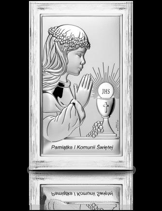 Pamiątka I Komunii dla dziewczynki: obrazek srebrny - Valenti & Co