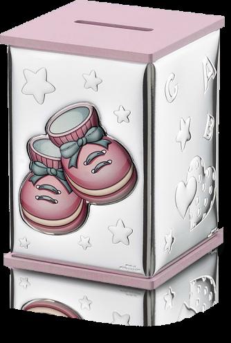 Srebrna skarbonka: w kolorze różowym - Valenti & Co