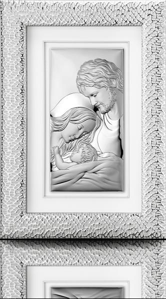 Święta Rodzina: obraz srebrny w ramie za szkłem - Valenti & Co