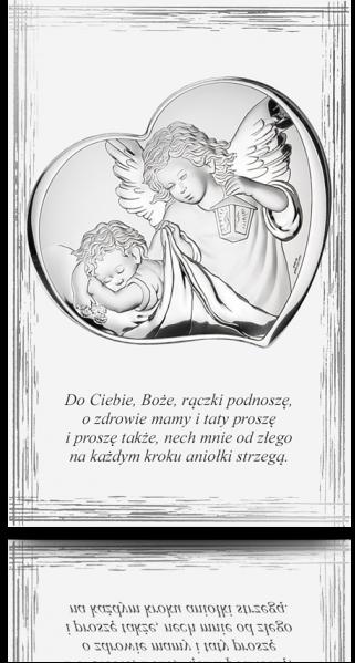 Aniołek nad dzieckiem: obrazek na białym drewnie - Valenti & Co