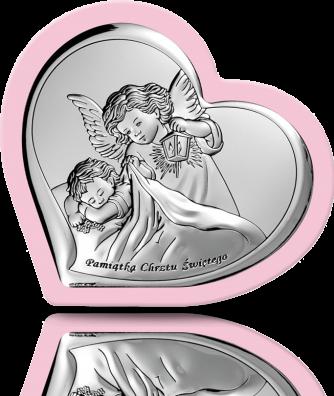 Aniołek z latarenką: obrazek srebrny na Chrzest - Beltrami