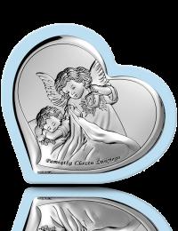 Aniołek z latarenką: obrazek srebrny na Chrzest