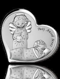 Pamiątka Chrztu Świętego: obrazek srebrny