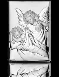 Obrazek z aniołkiem na Chrzest: obrazek srebrny