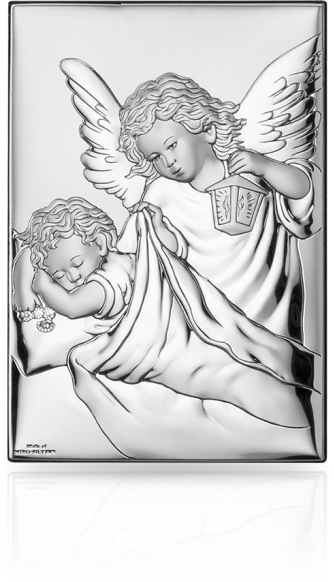 Obrazek z aniołkiem na Chrzest: obrazek srebrny - Valenti & Co