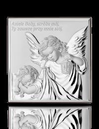Aniołek z latarenką: obrazek srebrny