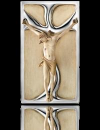 Jezus na krzyżu: obraz przestrzenny ze srebrem