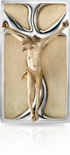 Jezus na krzyżu: obraz przestrzenny ze srebrem - Valenti & Co