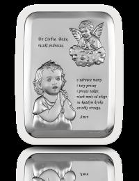 Aniołek nad dzieckiem: obrazek srebrny