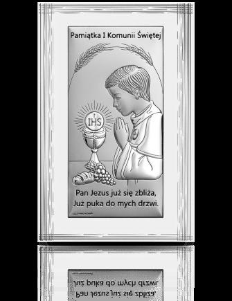 Pamiątka I Komunii dla Chłopca: obrazek srebrny - Beltrami